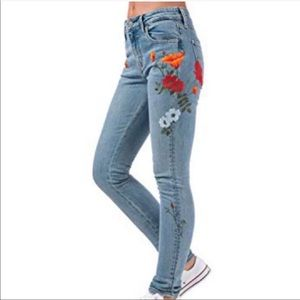Levi's Embroidered Poppy Skinny Jeans Size 24